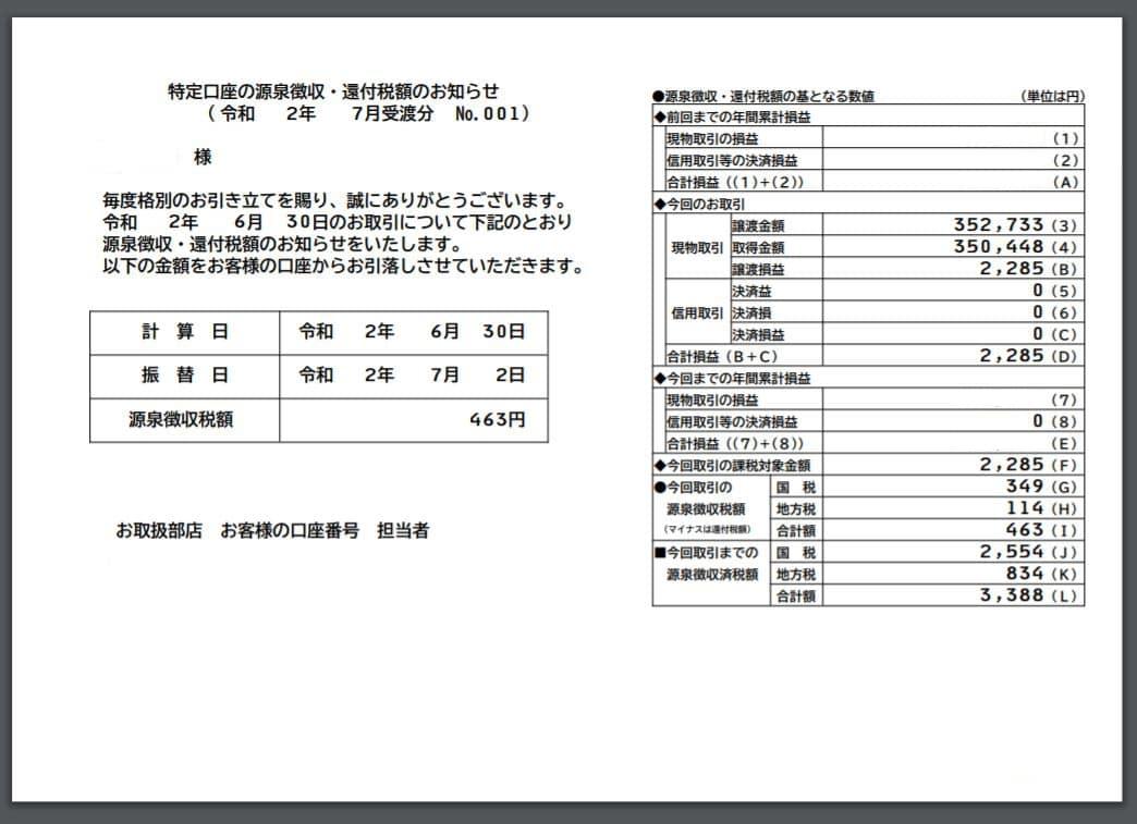 MMF源泉徴収の報告書