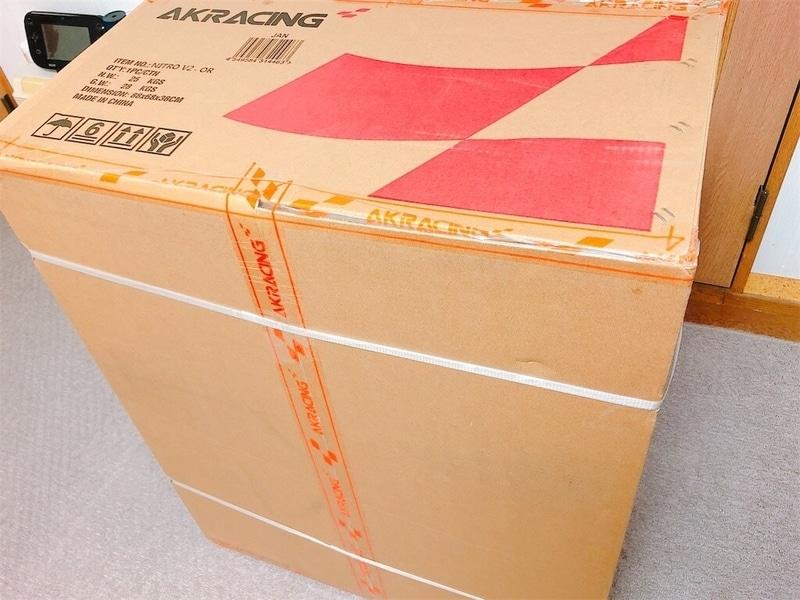 AKレーシングゲーミングチェアの梱包写真