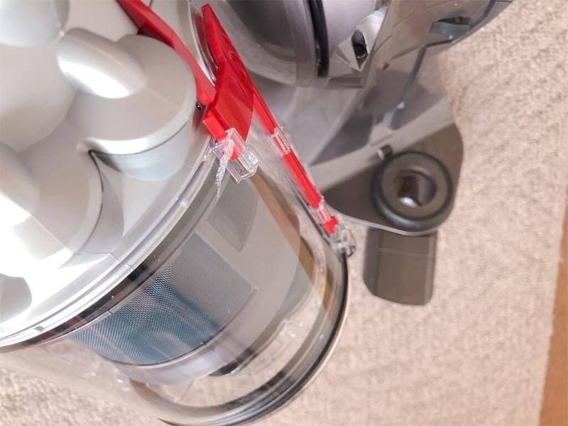 ダイソン掃除機CY25THクリアビン部分の拡大写真