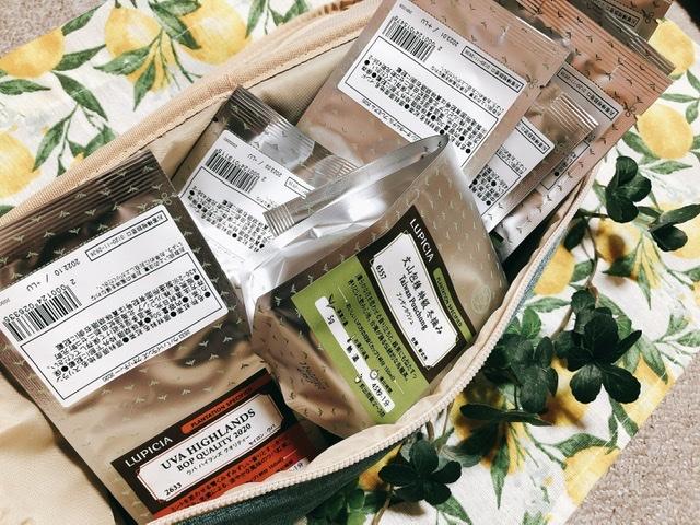 ルピシアのストレージバッグにお茶を入れた写真
